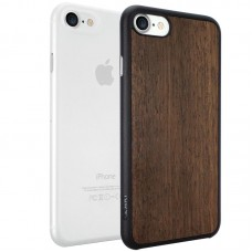 Набор чехлов O!coat Jelly+wood 2 in 1 case for iPhone 7 Ebony+Clear
